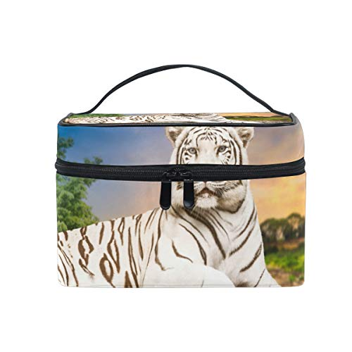 - Makeup Cosmetic Bag Animal Tiger Rest Stone Portable Storage with Zipper