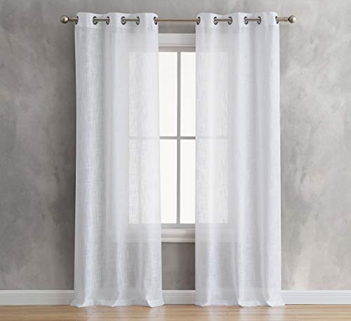 (French Connection Olivia Window Curtain Panel Pair, 38 in. x 96, White)