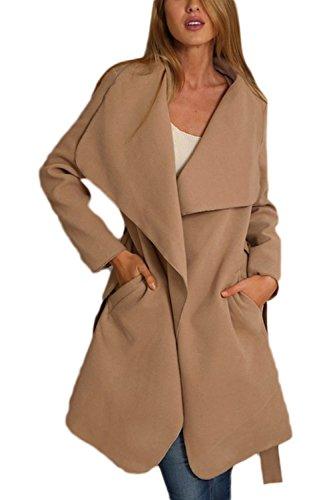 Frontal Solapa Outerwear La Trench LOOSE Elegante Khaki Suelto Abierto Mujer Coats xpxEawtz