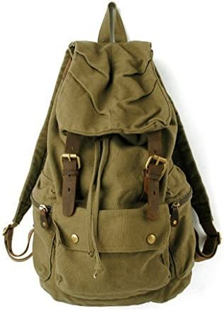 S.C.Cotton Canvas Leather Backpack Rucksack Satchel Bookbag Hiking Bag Army Green by S.C.COTTON