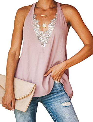 Minclouse Women's Lace Trim V Neck Tank Tops Sexy Racerback Loose Tops - Front Lace Top