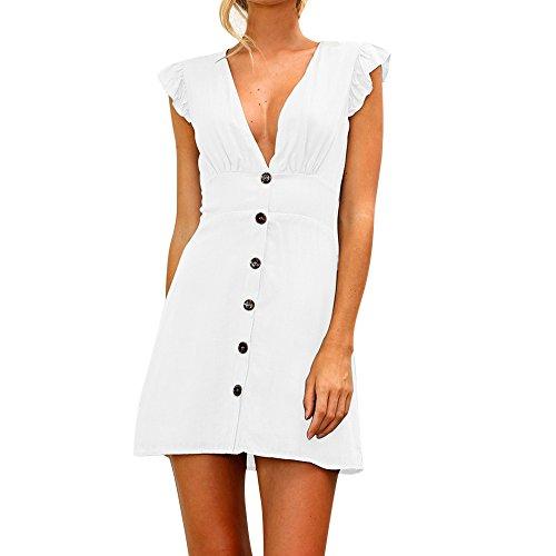 Sherostore ♡ Womens Sexy Solid Summer Button Up Sleeveless V Neck Short Ruffle Mini Dress Sundress White]()