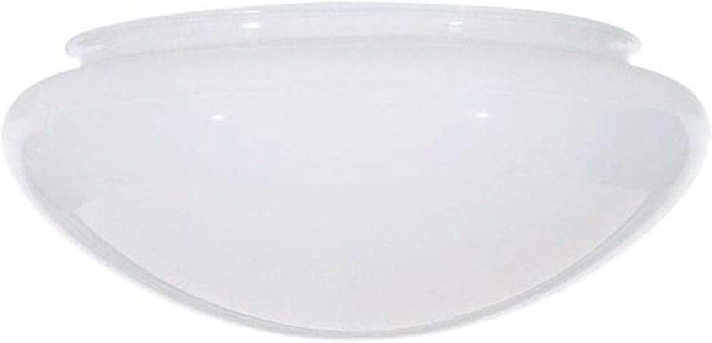 Bowl Mushroom White Glass Shade - 9-7/8-Inch Fitter Opening.