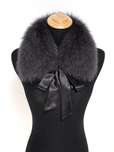 (Ferand Ladies Stylish Genuine Fox Fur Collar Scarf with Satin Ribbon - Dark grey)
