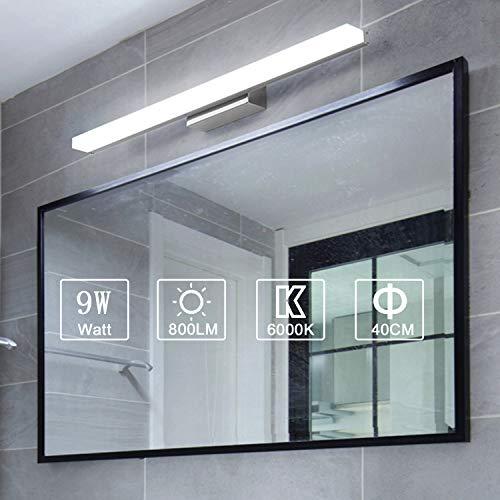 Yafido Aplique Espejo Bano Interior LED 40CM luz Bano Lampara de Pared Espejo Iluminacion para Maquillaje 9W Blanco Frio 6000K 800LM 40CM No-regulable