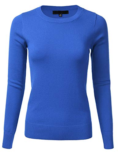 FLORIA Womens Long Sleeve Soft Crewneck Ribbed Trim Border Knit Top Sweater Viola L