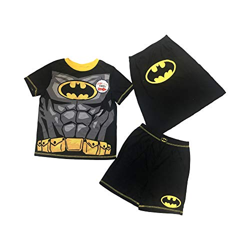 Batman Logo and Chest on Soft Knit top with Cape and Black Batman Logo Bottoms Pajama 3 Piece Set