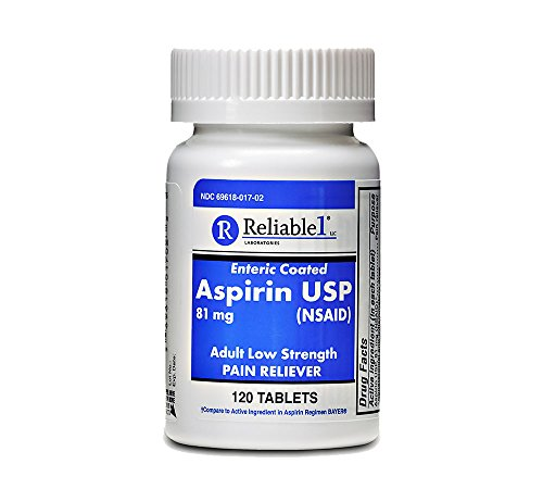 - Reliable 1 Aspirin USP 81 mg (NSAID) 120 Enteric Coated Tablets (1 Bottle)