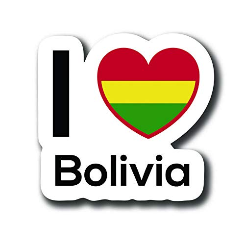 MKS0139 Love Bolivia Flag Decal Sticker Home Pride Travel Car Truck Van Bumper Window Laptop Cup Wall One 5 Inch Decal