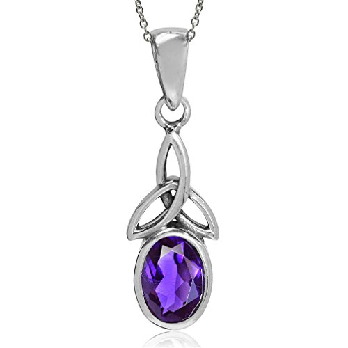 Natural African Amethyst 925 Sterling Silver Triquetra Celtic Knot Pendant w/ 18 Inch Chain Necklace
