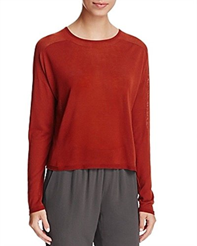 Eileen Fisher Womens Tencel Cropped Pullover Sweater Brown XL