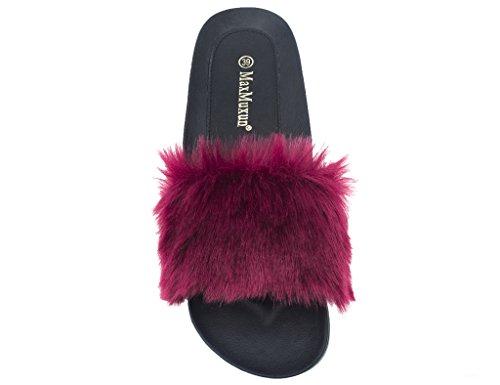 Indoor Burgundy Slippers Mules Slide Shoes Outdoor Women MaxMuxun Fuzzy qZACn