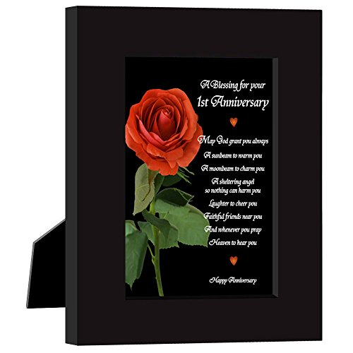 Paper 1st Wedding Anniversary Gift for Couple, First Anniversaries Card in Frame