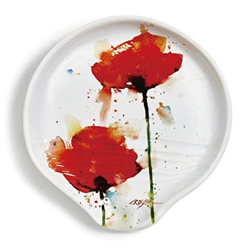 Poppy Flower Floral Watercolor Red 5 x 5 Glossy Ceramic Stoneware Spoon Rest