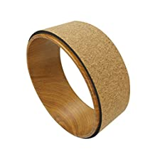 """QUBABOBO ABS + Cork Yoga Wheel Dharma Yoga Prop Circle for Stretching/Support, Pilates Poses and Backbends Exercise, Bridge Pose (13""""x5"""")"""