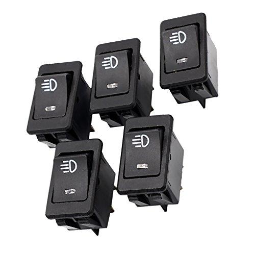 MonkeyJack 5Pieces Rectangular Rocker Switch Button ON-OFF Blue LED Fog Spot Light 12V 35A