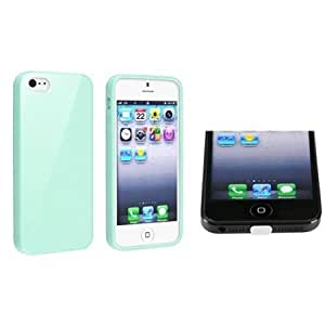 Bloutina eForCity Mint Green Jelly TPU Rubber Skin Case with FREE White Docking Port Cap Compatible with Apple iPhone 5...