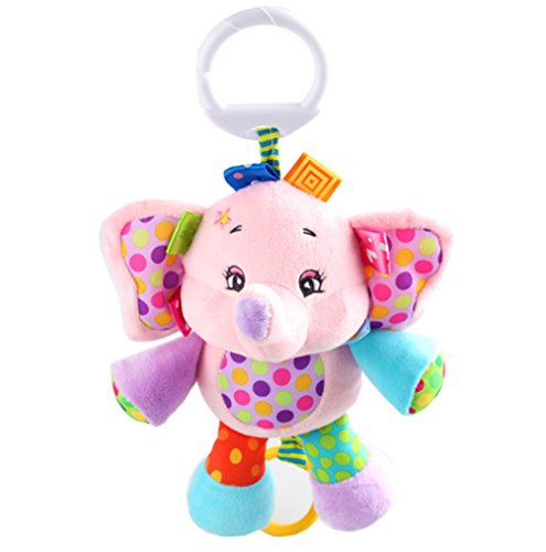- Rolina Baby Musical Stroller Crib Toys Cute Animal Rattle Plush Doll for Infant Toddler Kids (Pink Elephant)