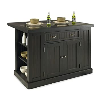 Home Styles 5033 949 Nantucket Kitchen Island And Stools, Distressed Black  Finish