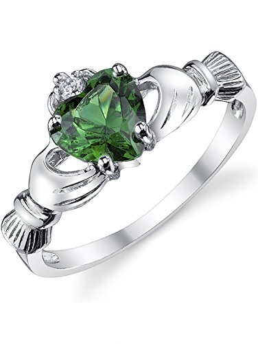 Sterling Silver 925 Irish Claddagh Friendship & Love Ring with Simulated Emerald Green Color Heart Cubic Zirconia ()