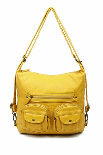 Vegan Leather Convertible Backpack & Crossbody Purse 3-way by Ampere Creations (Mustard)