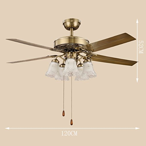 Luxury Fan Chandeliers European Restaurant Ceiling Fan Lights Iron Leaves And Wood Leaves 5 Head LED Glass Cover Fan Lights ( Color : B -(cable switch) ) by Cang teacher (Image #2)