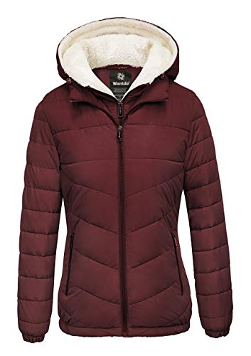 Wantdo Women's Puffer Jacket Hooded Windproof Casual Wear Wine Red Large