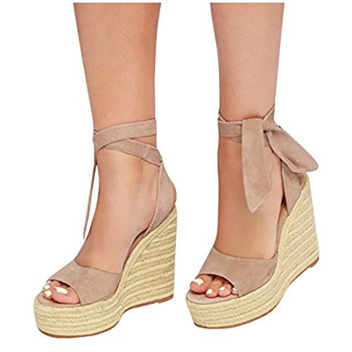 Liyuandian Womens Platform Espadrille Wedges Open Toe High Heel Sandals with Ankle Strap Buckle Up Shoes (6 M US, B Khaki)