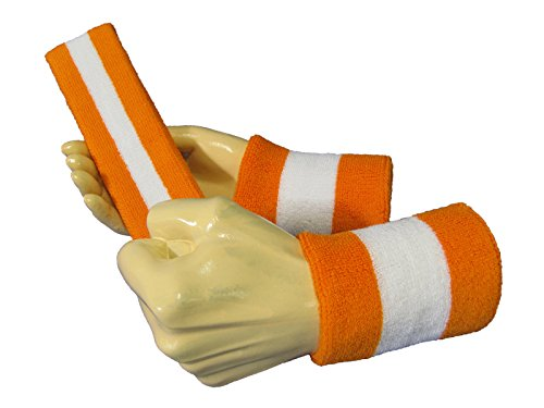 Semi-pro Jackie Moon Orange Striped Sweat Headband Wristband Set (Jackie Moon Halloween Costume)