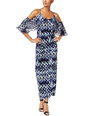 NY Collection Cold-Shoulder Maxi Dress Blue Rainy S