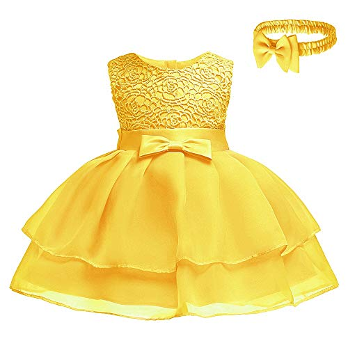 Toddler Baby Girls Embroidered Christing Pageant Birthday Party Baptismal Dress with Headband,Yellow,12M
