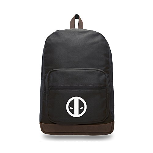 Deadpool Logo Canvas Teardrop Backpack with Leather Bottom Accents, Black