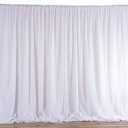 (Rantepao Ceiling Draping Sheer Chiffon Voile Drape Panel Backdrop Wall Divider Wedding 10 ft W x 8 ft H White Color)