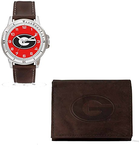 NCAA Georgia Bulldogs Men's Watch and Wallet Set, Brown, 7.5 x 4.25 x 2.75-Inch