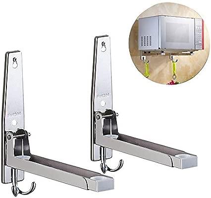 Gutsbox Soporte de Pared Estante para microondas con 4 Ganchos de Acero Inoxidable, Incluye Material de Montaje (hasta 35kg, 29-42cm) (Type1)