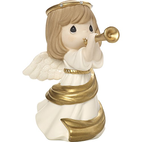 Precious Moments Make Music From The Heart Angel With Trumpet Bisque Porcelain Figurine - Angel Figurine Music