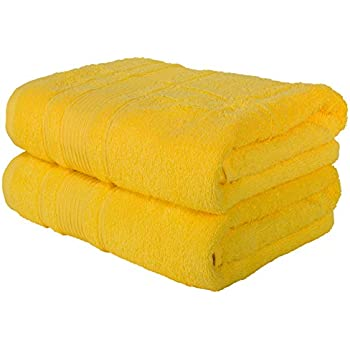 Qute Home Towels 100% Turkish Cotton Yellow Bath Towels Set | Super Soft Highly Absorbent Towels | Spa & Hotel Towels Quality Quick Dry Towel Sets for ...