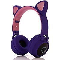 Pshare Cute Foldable Over/On Ear Headsets with LED Light for Girl Adult, Bluetooth 5.0 Kids Cat Headphones for iPhone…