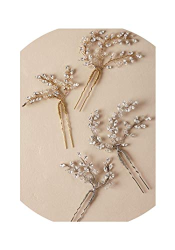Vintage Hairpin Gold Silver Bridal Wedding Hair Accessories Pins Girl Handmade Ornaments Crystal Women Brides Jewelry,Silver