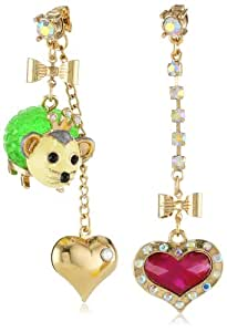 """Betsey Johnson """"A Day at the Zoo"""" Possum and Heart Mismatch Drop Earrings"""