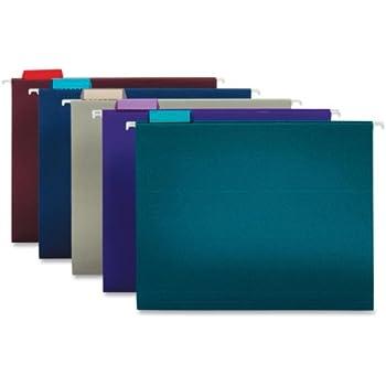 Globe-Weis/Pendaflex Hanging File Folders, 1/5 Cut Clear Tab, Letter Size, Assorted Colors, 25 Folders Per Box (66056)