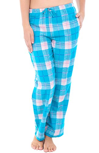 Alexander Del Rossa Womens Flannel Pajama Pants, Long Cotton Pj Bottoms, XL Teal and Pink Plaid ()