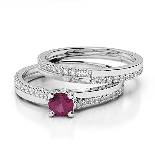 G-H/VS 0.25CT Coupe ronde sertie de diamants Rubis et diamants blancs et bague de fiançailles en platine 950Agdr-1060