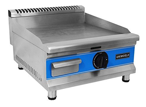 """Uniworld 20"""" Single Thermostat Natural Gas Griddle with °F and °C Adjustable Thermostat, 20000 BTU, Convertible to Propane with Propane Nozzle (SOLD SEPARATELY). CE Approved Model UGR-G20 by Uniworld"""