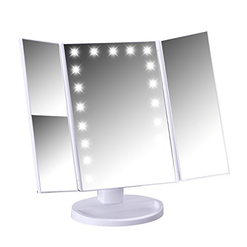 Price comparison product image HDE Lighted Vanity Make Up Mirror Tri-Fold Adjustable Bathroom Mirror 21 LED Lights 1x/2x/3x Magnification and 180° Free Rotation