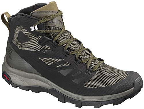 Backpacking Mid Gtx Boot (Salomon Men's Outline Mid GTX Hiking Shoe, Black/Beluga/Capers)