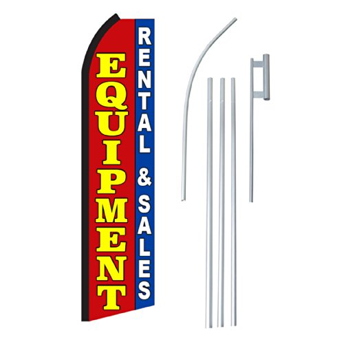 "NEOPlex - ""Equipment Rental & Sales"" Complete Flag Kit - Includes 12' Swooper Feather Business Flag With 15-foot Anodized Aluminum Flagpole AND Ground Spike"