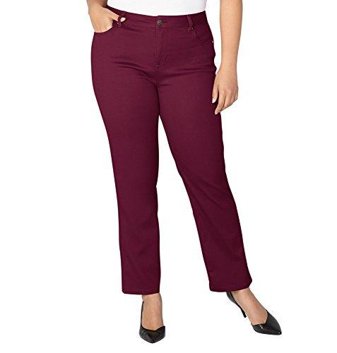 -AVENUE Women's Butter Denim Straight Leg Jean in Wine, 18 Wine