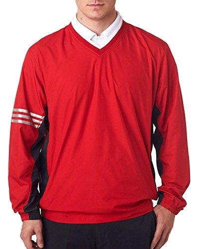 Adidas Men's Climalite Color Block V-Neck Windshirt, University Red/Blk, 2XL