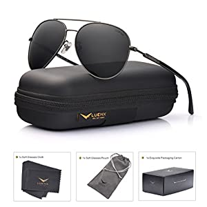 Men Women Sunglasses Aviator Polarized Driving by LUENX - UV 400 Protection Grey Lens Gun Metal Frame 60mm